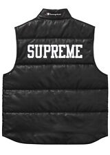 Supreme x Champion Puffy Vest Black + Box Logo Bogo Sticker | size MEDIUM | SS17