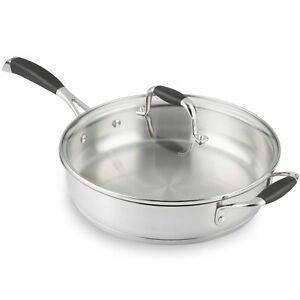 VonShef 26cm Frying Sauté Pan Stainless Steel with Glass Lid Induction safe