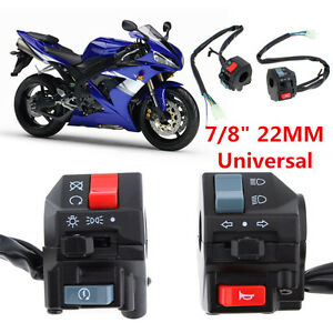 Pair-DC-12V-Motorcycle-7-8-034-Handlebar-Horn-Turn-Signals-Electrical-Start-Switch