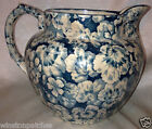BUFFALO POTTERY LARKIN SOAP GERANIUM PITCHER JUG 48 OZ GREEN BLUE CHINTZ FLOWERS