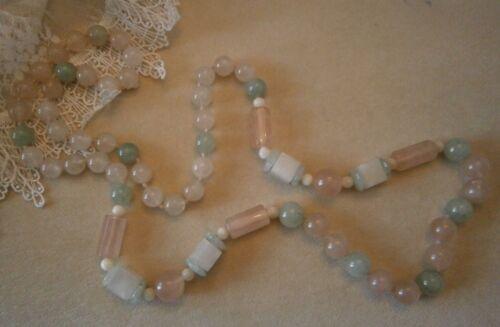 Vintage Pastel Rose Quartz  Glass Bead Necklace