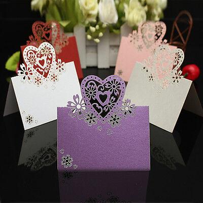 50 pcs Love Heart Laser Cut Wedding Party Favor Table Name Place Cards Decor