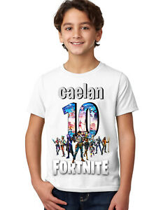 FORTNITE BOYS PERSONALISED BIRTHDAY T-SHIRT/AGES 3-14
