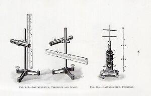 1921 PRINT ~ GALVANOMETER TELESCOPE & SCALE THOMPSON REVERSE AYRTON MATHER