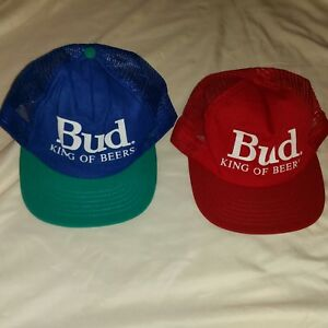 8267eddfd4b Image is loading Vintage-Stylemaster-Bud-King-of-Beer-Hats-Collectible-