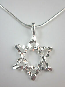 """Silver Plated Large Star of David Diamond Cut Pendant Necklace 18"""" Chain"""