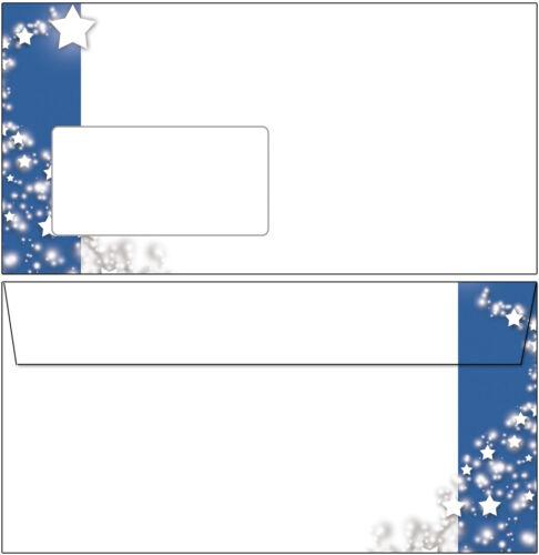 50 Briefumschläge Motiv Sterne Banner blau DL mit Fenster Weihnachten weiß grau