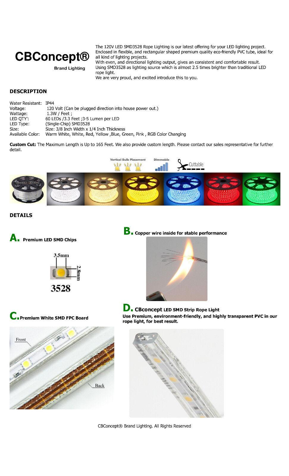 CBConcept® UL Listed,50 Feet,5500 Lumen,Pure White 6000K,120V LED Strip Rope