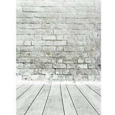 5x7ft White Gray Brick Wall floor Photography Background Backdrop Photo Studio