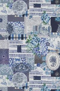 DIGITAL PRINT PORCELAIN PATCHWORK WEDGEWOOD FLORAL BLUE CUSHION CURTAIN FABRIC