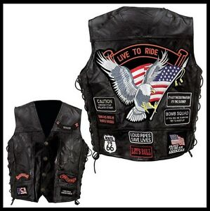 Live-To-Ride-Eagle-leather-vest-Big-Size-For-bikers-country-S-TO-7XL
