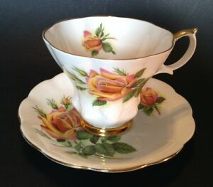Royal-Albert-Pedestal-Cup-And-Saucer-Margaret-Yellow-Sweetheart-Rose-England