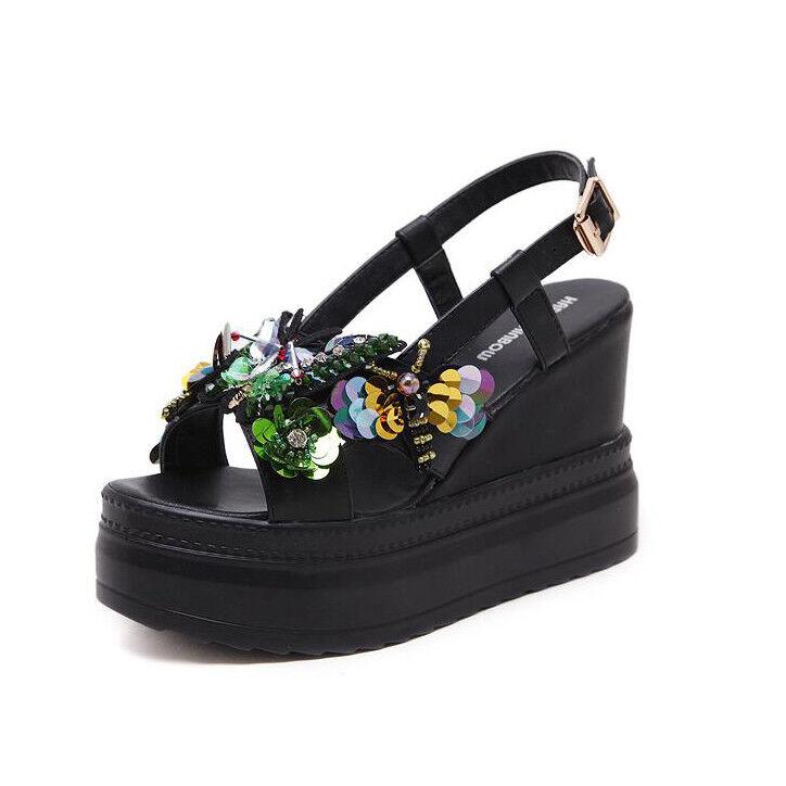 Sandali eleganti  nero colorate 10 cm zeppa platform  simil pelle eleganti 9882