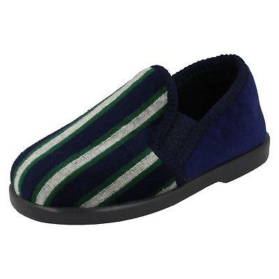 Chicos Azul Marino, Verde Y Blanco De Rayas Zapatillas por Anthony por menor precio £ 4.99