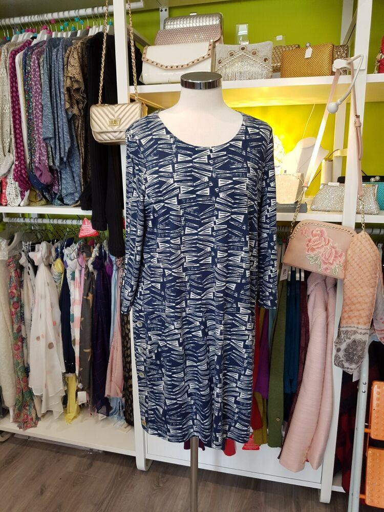 DéVoué Mistral Abstract Robe Tunique En Bleu Taille 14 ModèLes à La Mode