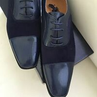 Mens Dress Shoes Suede & Patent Lace Upprom Wedding Tuxedo Amali Collection