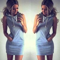Women Mini Dress Short Sleeve Tops Ladies Hoodie Jumper Pockets Sweater UK 6-16
