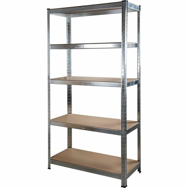 5 Tier Galvanized Bolt Less Shelving Unit 1 5m Heavy Duty Garage Warehouse