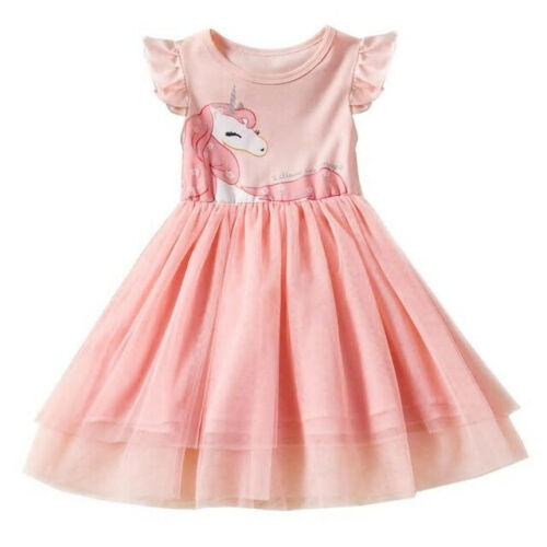 NEW Girls Unicorn Pink Short Sleeve Tutu Dress 4 5 6 7