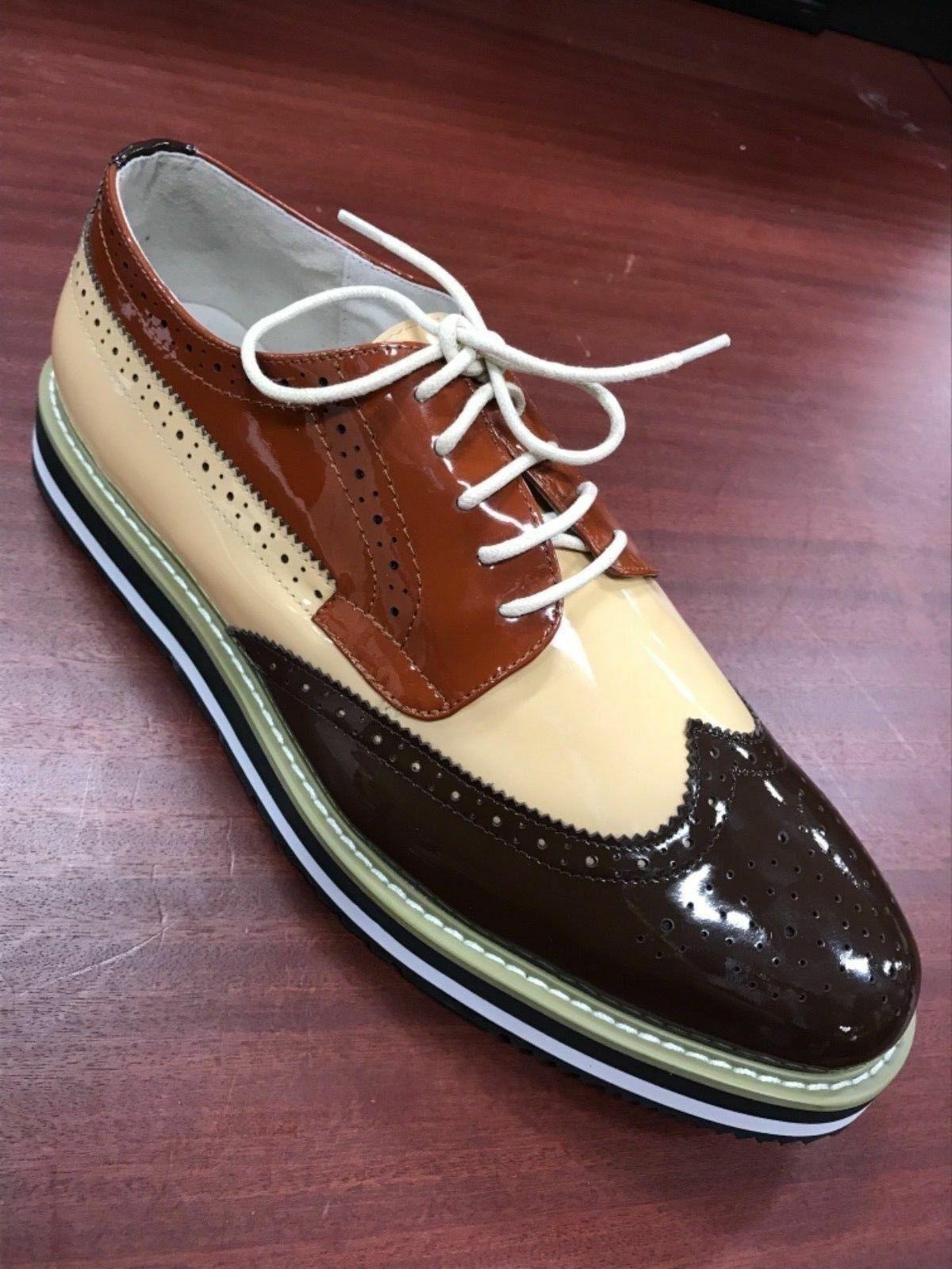 Men's Coffee   Beige   Rust Patent Fashion Sneakers