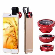 Red 3 in 1 HQ Mobile Camera Clip On Fish Eye Lens Kit Wide Angle For iPhone 5 6S