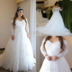 Details about Elegant Plus Size Wedding Dress Off The Shoulder Sheer Long  Sleeves Bridal Gown