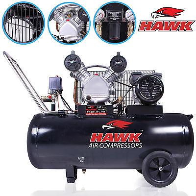 HAWK TOOLS 100 LITRE 100l BELT DRIVE 230V 3HP 11.7 CFM V ENGINE AIR COMPRESSOR