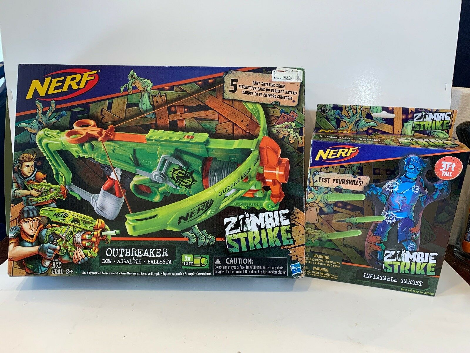 Nerf Zombie Strike Inflatable Target Target Target & Outbreaker Bow Kids Game Toy Both Sealed d6d994