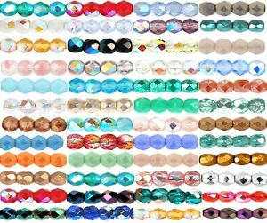 3mm-Czech-Round-Glass-Fire-Polished-Beads-Jewellery-Making-100pcs-NEW-COLOURS