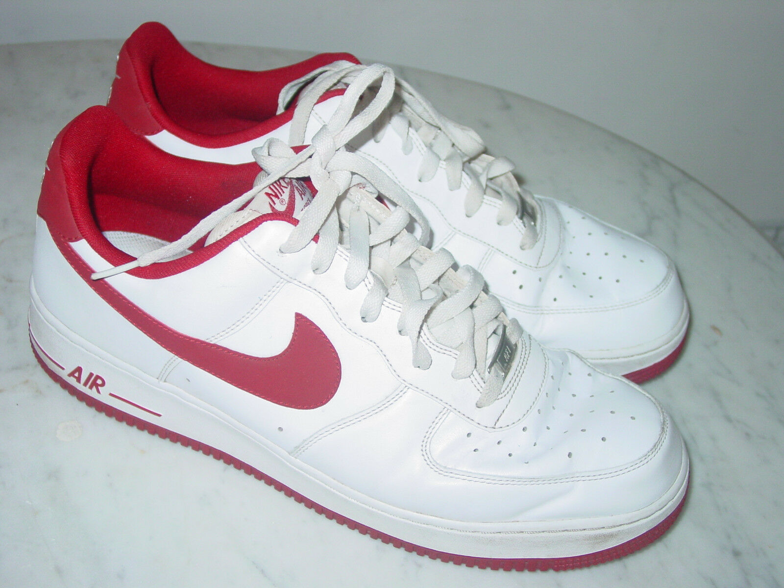 2014 Nike Air Force One 07 White Gym Red Leather Low Basketball shoes  Size 13