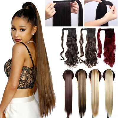 "100% Real Thick Clip On Ponytail Hair Peies Hair Extensions 26"" Long  Straight K2 