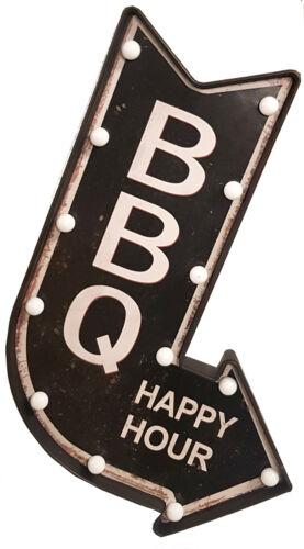 BBQ Schild Beleuchtet Baterie betrieben Happy Hour Pfeil Reklameschild Werbeschi