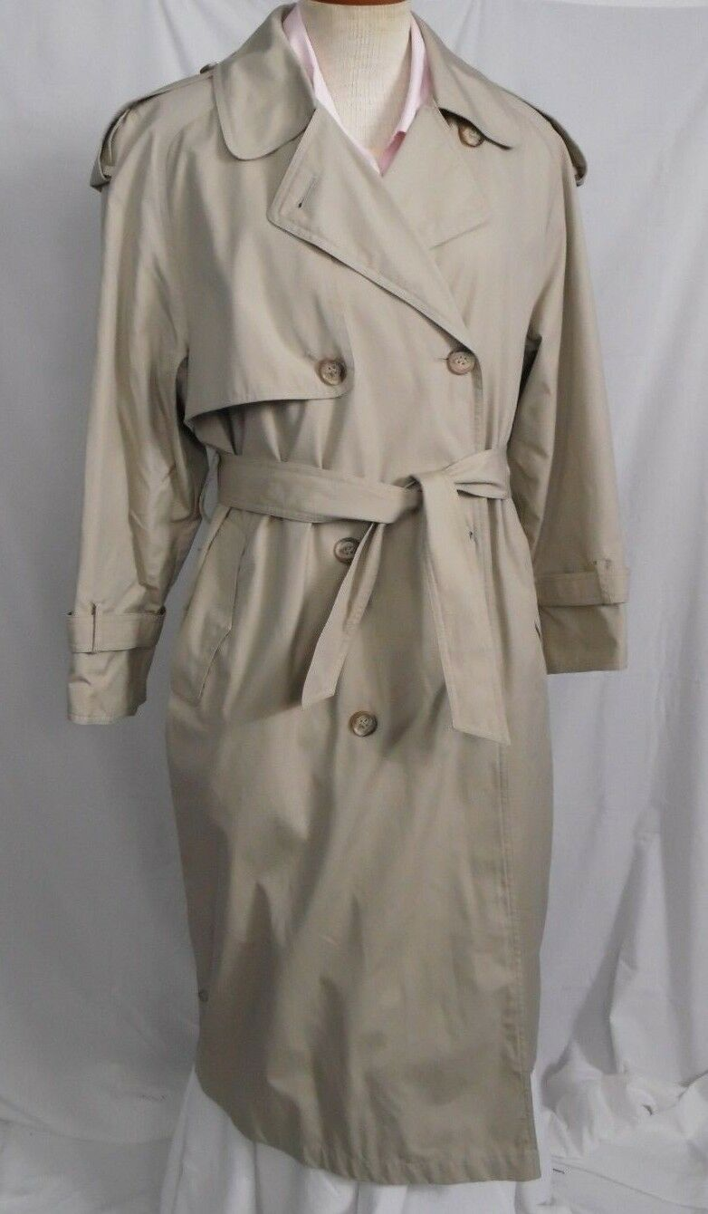 Women's Towne By London Fog Beige Cotton Vintage Double Breasted Trench Coat 10P