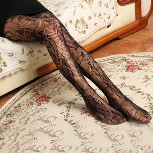 Floral Pattern Jacquard Ladies Fishnet Pantyhose Fraue Tights Stockings PAL/_