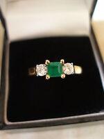 18 Carat Gold Emerald & Diamond 3 Stone Ring Brand In Box Made In England