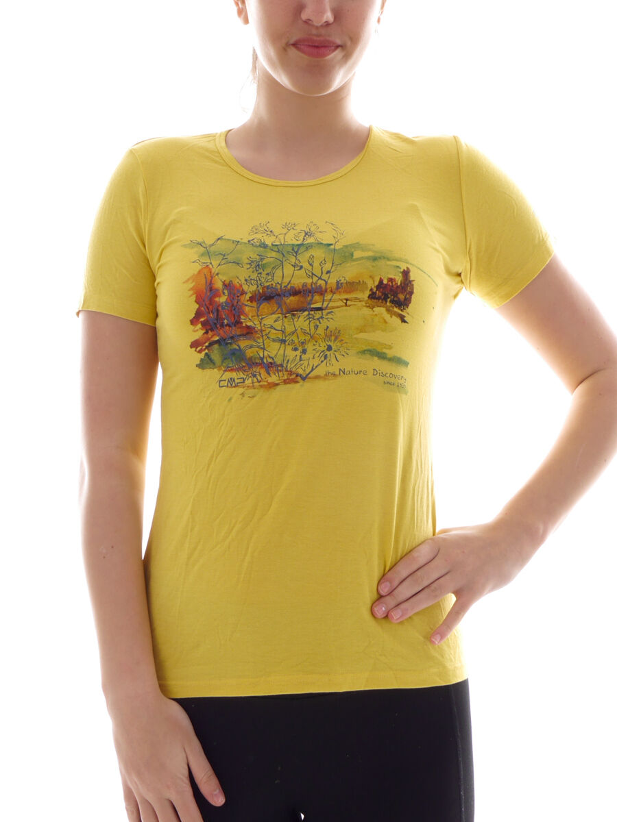 CMP Dress  Shirt Top Summer Shirt Yellow Print dryfunction Stretchable  10 days return
