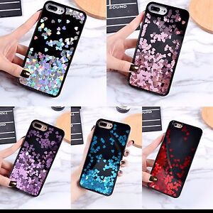 promo code 0d547 c38dd Details about Black Floating Hearts Liquid Waterfall Bling Glitter Case For  All iPhone Models