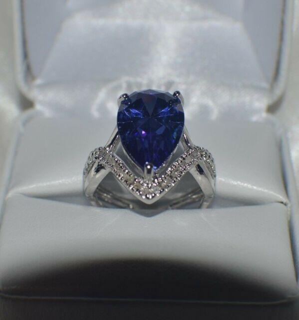 GLAMOROUS 8 CARAT  PREMIUM AAAA TANZANITE & 40 VVS DIAMOND COCKTAIL RING  SIZE 7