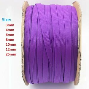 3-25mm Purple Braided Cable Sleeving//Sheathing PET Auto Wire Sleeve Harnessing