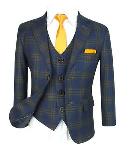 Kids Boys Suit Check Waistcoat Page Boy Prom Suits Wedding Formal Suits Party sz