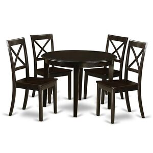 Details about 5 Piece Small Kitchen Table Set-Round Table And 4 Kitchen  Chairs NEW