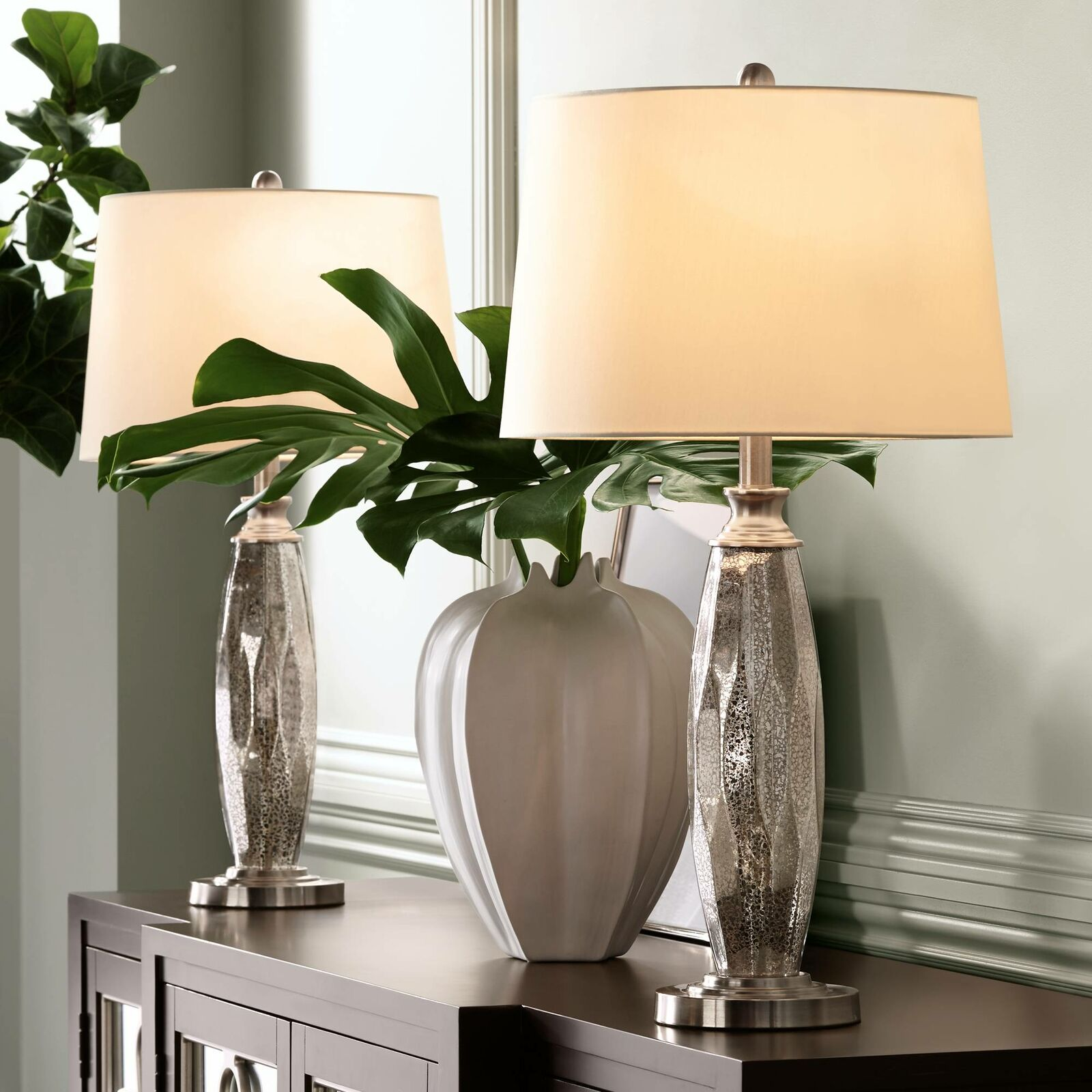 Modern Table Lamps Set of 7 Mercury Glass Brushed Nickel for Living Room  Bedroom