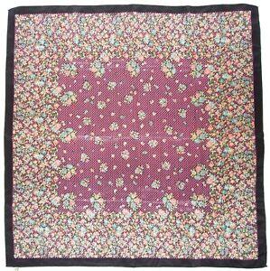 Vintage-SMALL-FLORAL-Print-POINTILIST-Pink-Blue-Green-BLACK-Silk-Fashion-SCARF