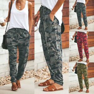 Womens-Camo-Cargo-Joggers-Trousers-Ladies-Bottoms-Jogging-Gym-Pants-Tracksuit