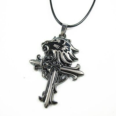 Men's Stainless Steel Lion Head Cross Pendant Chain Sleeping Lionheart Necklace