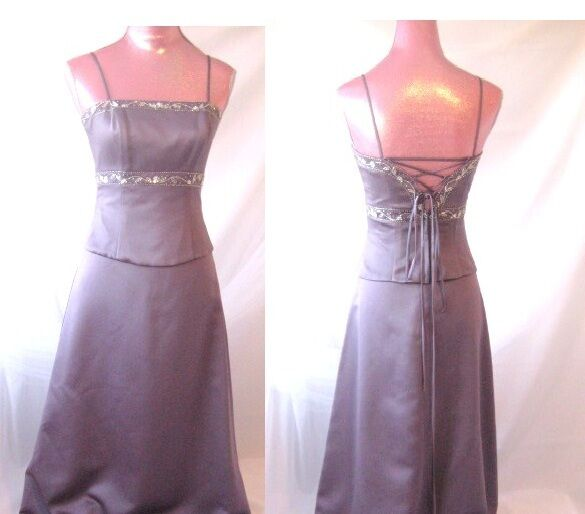 Alexia Ardmor Gown Victorian purplec Satin 2pc dress formal evening bead 4 S 1522
