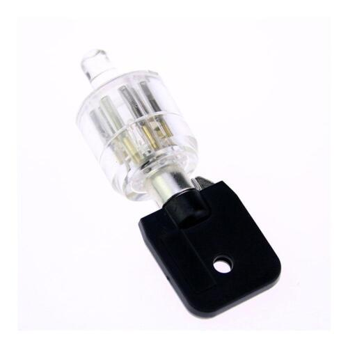 7 pins Tubular Lock Transparent practice lock with key ydeG