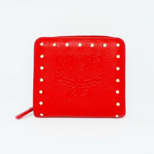 Auth MCM Red Leather Bifold Wallet