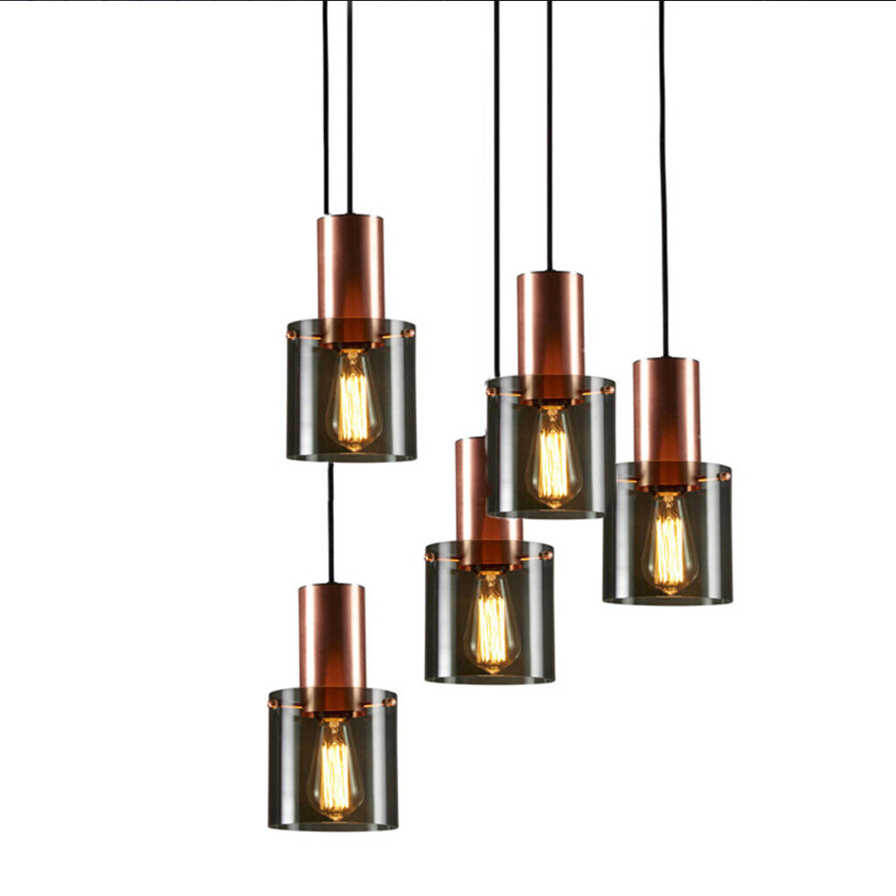 Glass Chandelier Pendant, Copper Golden Hanging Lamp for Living Dining Room, Bar