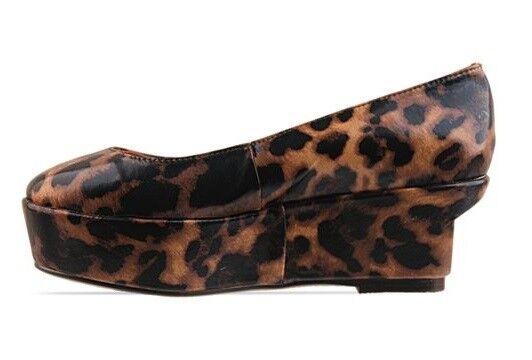 NIB  179 Designer KOBE HUSK Genuine LEATHER Leopard Flatform Flatform Flatform schuhe Italian 40 9 ec3ef1